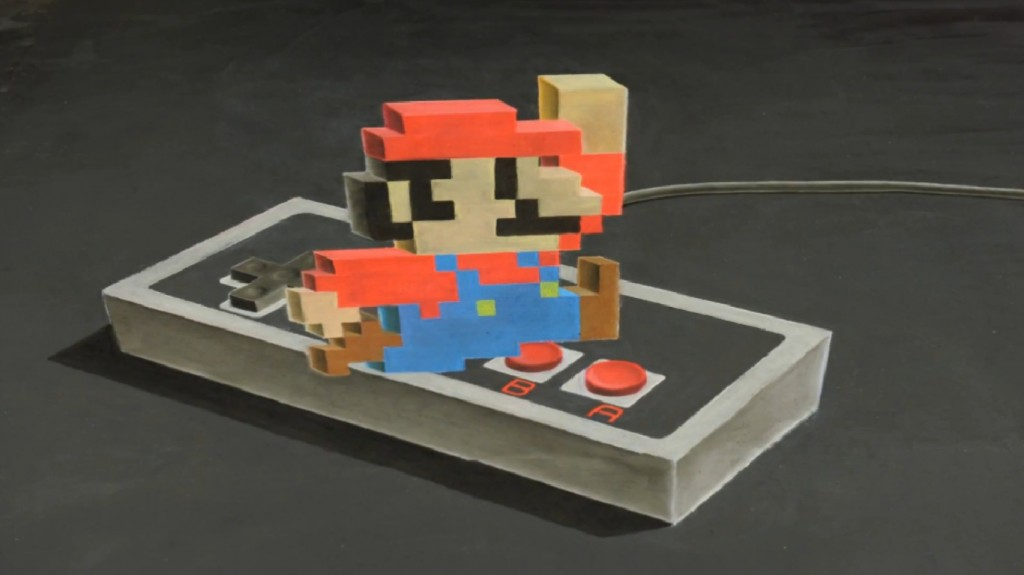 "Resultado do curta ""Super Mario - 3D Chalk Art"""